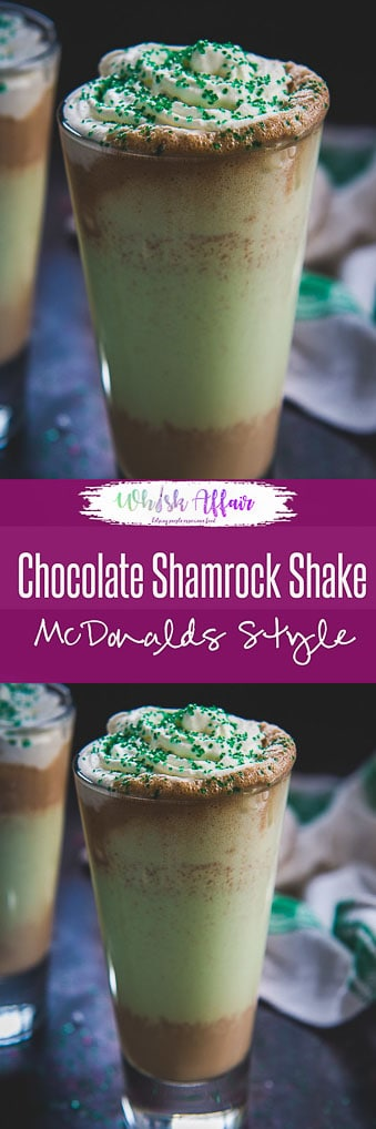 """Minty, chocolaty and chilled, this Mc Donald's Copycat Chocolate Shamrock Shake is my """"bae"""" beverage for this Saint Patrick's Day and summer. I tried it once during my stay in the US and since then I have loved this shake like anything! Here is how to make this Chocolate Shamrock Shake. #StPatricksday #Chocolate #Beverage #Summer #shake"""