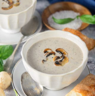 Cream of mushroom soup served ina bowl.