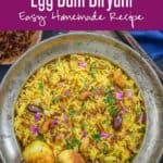 Egg Biryani or Anda Biryani is a flavorful and delicious Indian rice preparation where rice is cooked with a spicy egg layer. It is a take on Hyderabadi Gosht Biryani and is super easy to make at home. Here is how to make egg biryani recipe at home. #egg #Recipes #Indian #rice #Biryani