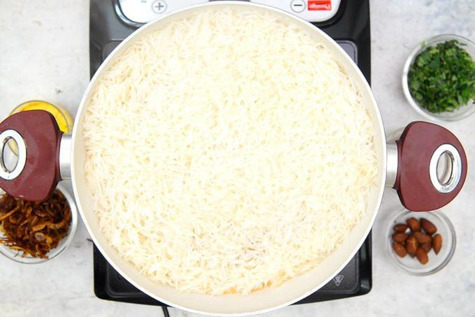 Rice layered over the eggs.