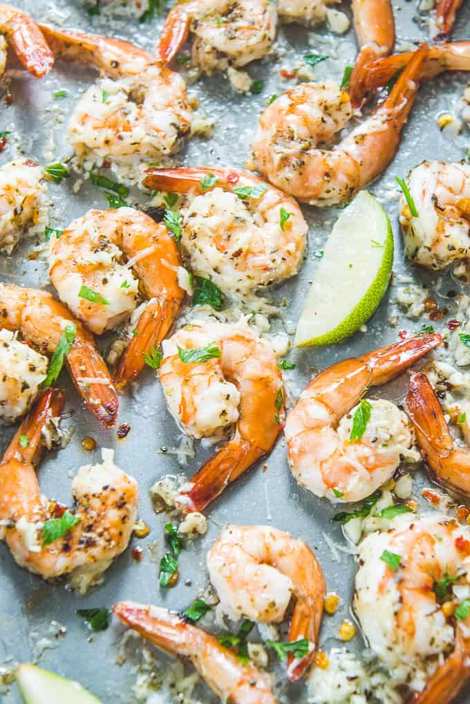 Parmesan Garlic Shrimp lined on baking tray.