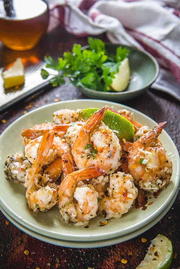 Garlic Parmesan Shrimp served on a plate.