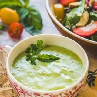 Green Goddess Salad Dressing served in a bowl.