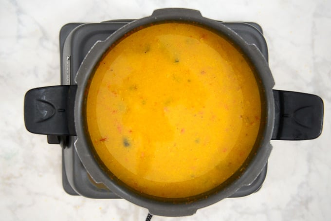 Cooked dal whisked until smooth.