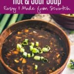 Chinese Hot and Sour Soup is a spicy, tangy accompaniment for all your meals. Suit it to your taste and eat it when its piping hot! Here is a simple homemade easy recipe to make best authentic Hot and Sour Soup. #Soup #Vegetarian #Vegan #Chinese #Healthy