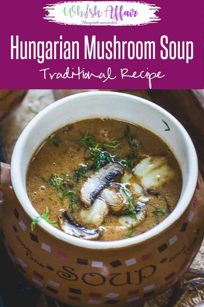 Hungarian Mushroom Soup is a delicious slightly tangy soup loaded with chunks of mushrooms in every bite and a creamy texture from the roux. Do try this easy recipe and I am sure you will fall in love with it. #Mushroom #Soup #Recipes