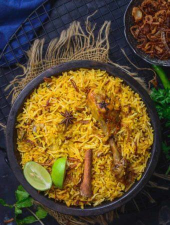 Hyderabadi Chicken biryani served in a bowl.