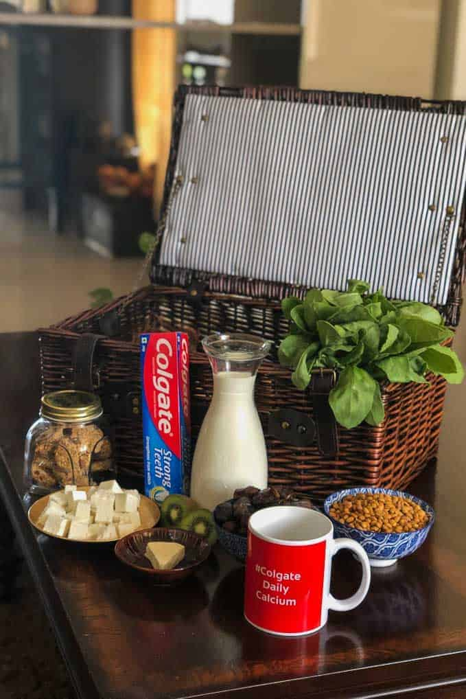 Hamper with calcium rich products.