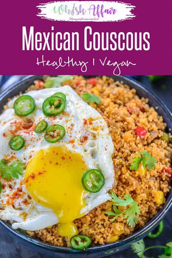 Mexican Couscous is a one bowl dinner that is super easy and quick to make. It's healthy, vegan and comes together in no time. Here is how to make Mexican Couscous Recipe. #Dinner #Vegan