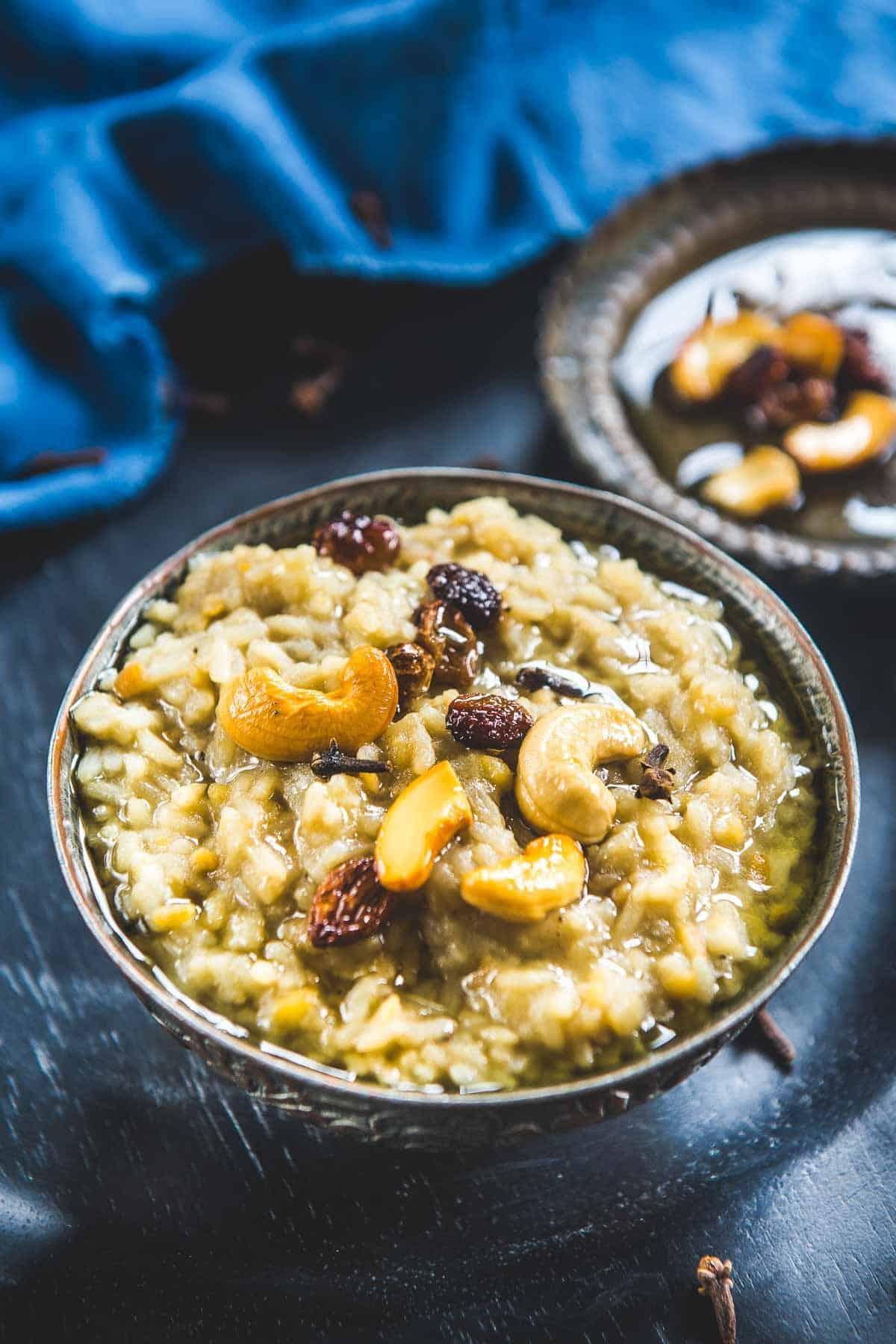 Sakkarai Pongal served in a bowl.