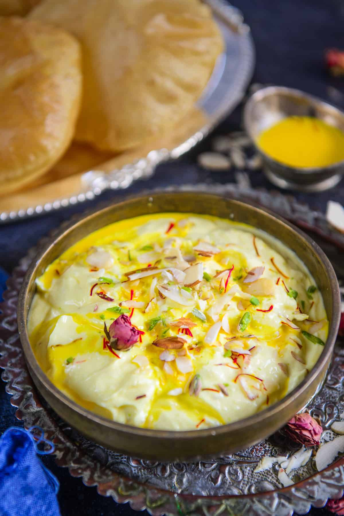Kesar Shrikhand served in a bowl.