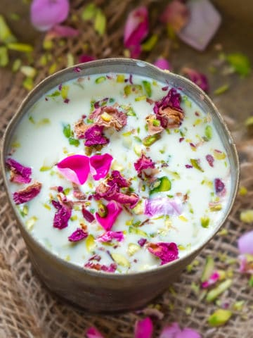Dry Fruits Thandai Drink is a traditional Indian beverage popular in North Indian states of UP and Rajasthan and made especially for the festival of Holi. It is quite refreshing to drink and is loaded with some rich ingredients like dry fruits, seeds, and saffron.