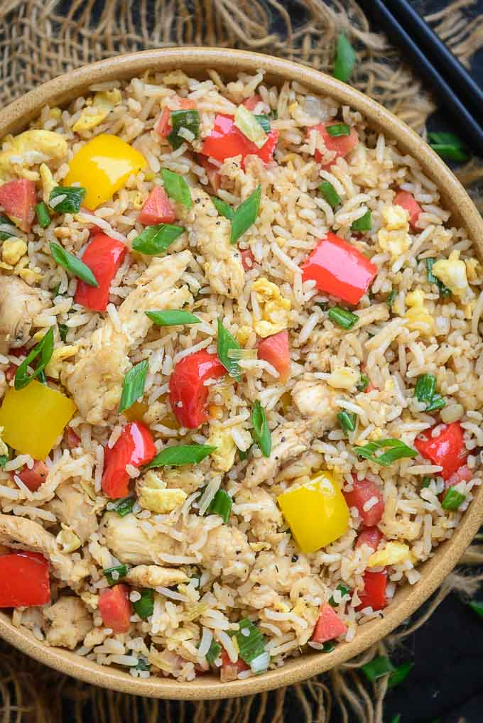 Close up shot of Chicken Fried Rice Recipe.