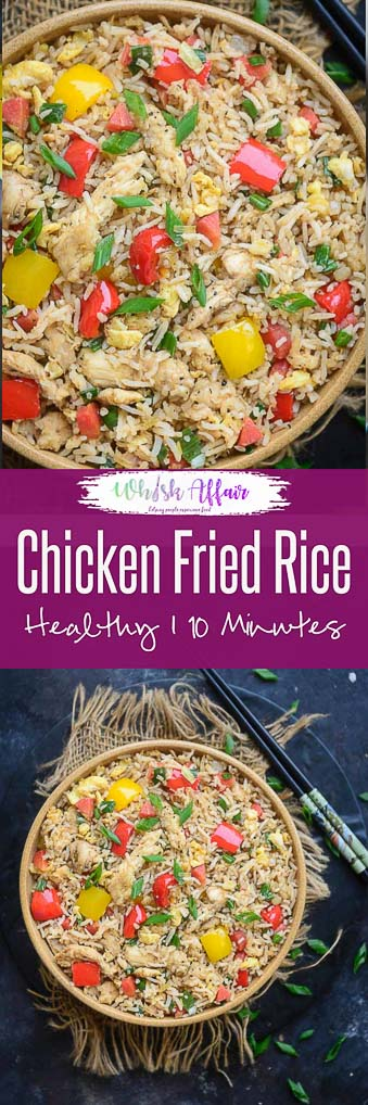 This Chicken Fried Rice is just like the Chinese restaurant you visit in your neighbourhood. Make this Homemade, Chinese style rice using my simple and easy recipe. Here is how to make Chicken Fried Rice Recipe at home. #Asian #Rice #Dishes #Recipe #Glutenfree #Lunch #Dinner #MainCourse