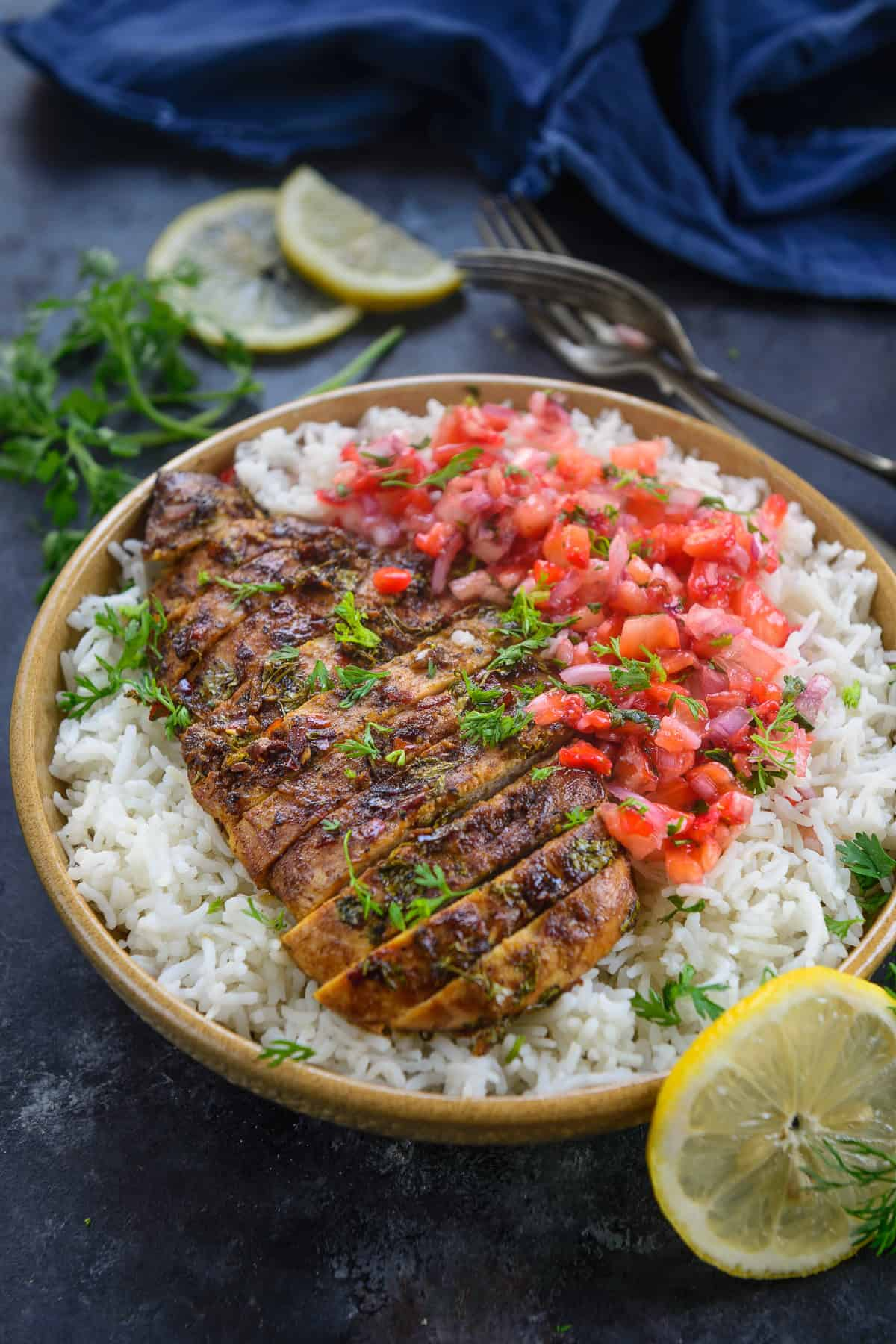 Cilantro Lime Chicken served in a plate with rice.