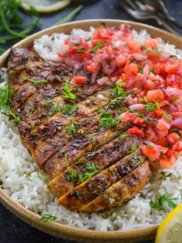 Quick to make, tasty, and easy to relish meal on your mind? This Cilantro Lime Chicken checks all those boxes! You can serve it baked or grilled.