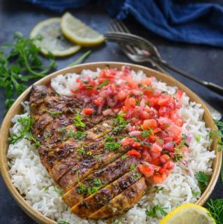 Cilantro Lime Chicken served with rice and salsa.
