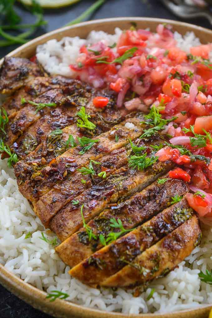 Close up shot of cilantro lime grilled chicken.
