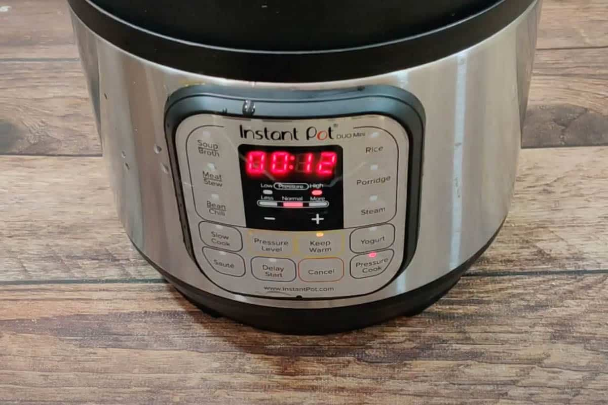 Front view of instant pot cooking mashed potatoes