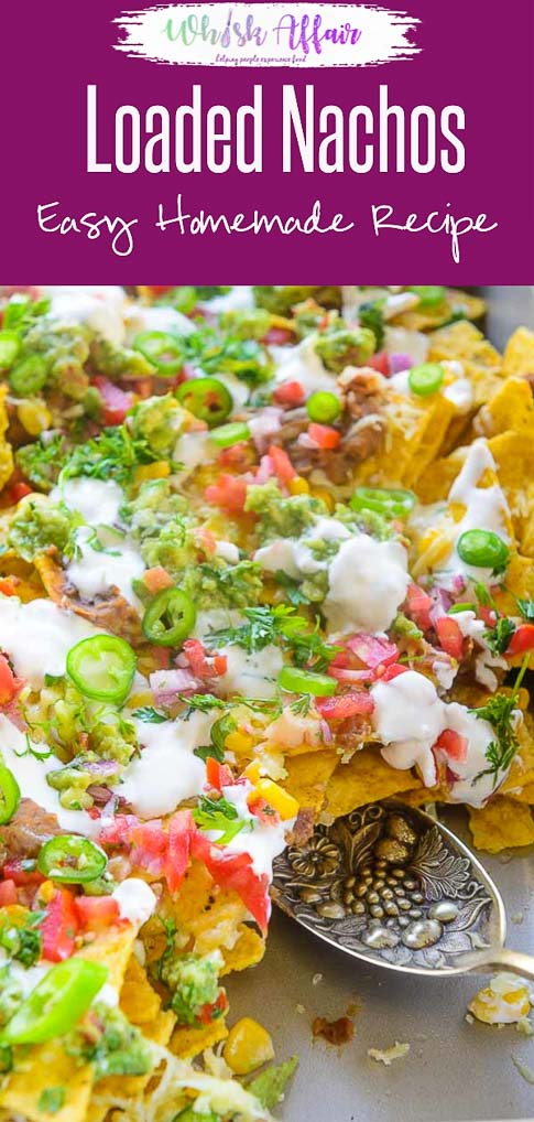 These homemade fully Loaded Nachos are a great party appetizer. Easy and simple to make, you can make these in a jiffy and  in a large batch. Here is how to make Loaded Nachos Recipe at home. #Appetizer #SuperBowl #Homemade #easy #Party