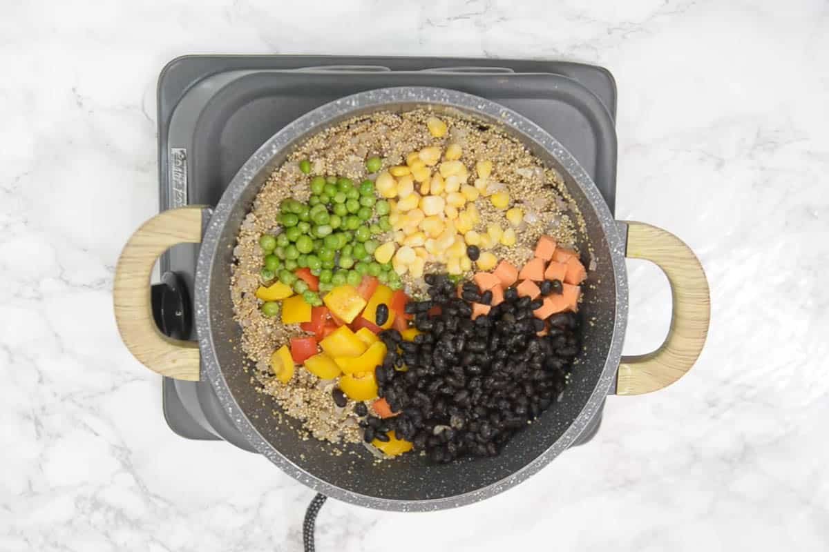 veggies and black beans added in the pan.