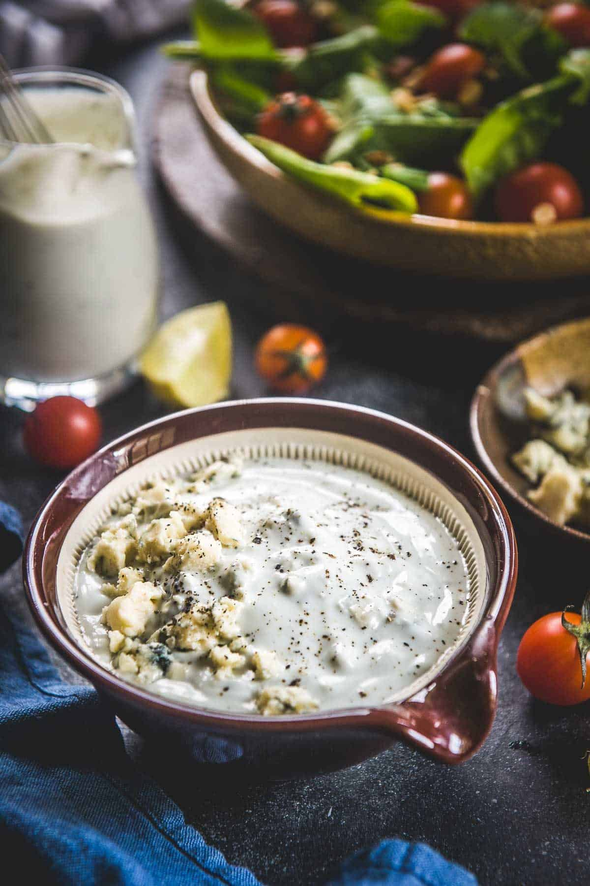 Blue Cheese Salad Dressing served in a bowl.