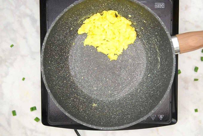 Egg scrambled in the pan.