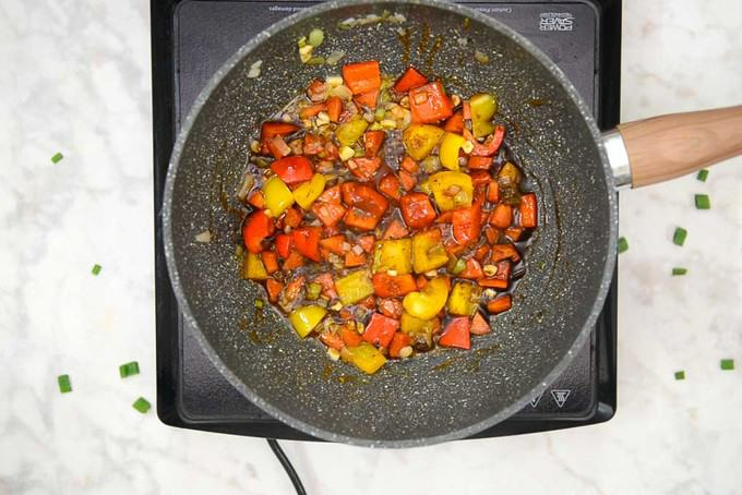 Sauces added in the pan.