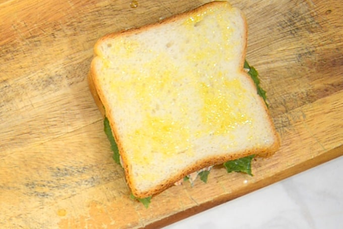 Sandwich brushed with olive oil.