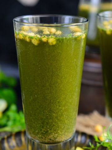 Jaljeera is a popular North Indian drink made using cilantro, mint, and spices. It is cooling, appetizing and refreshing and perfect to sip on hot summer days.