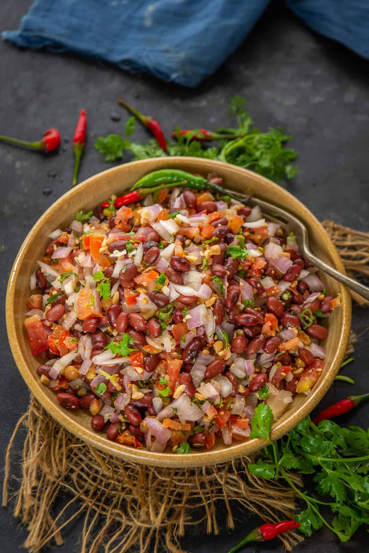 Kidney beans salad served in a bowl.