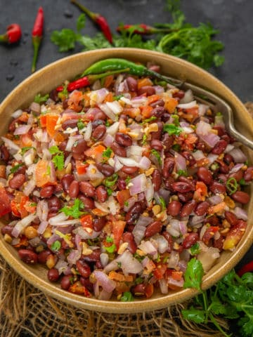 This healthy Red Kidney Bean Salad is a great salad to begin your day with, but can also be enjoyed at any time. It is an easy, vegan, gluten-free old fashioned salad that never goes out of fashion BTW.