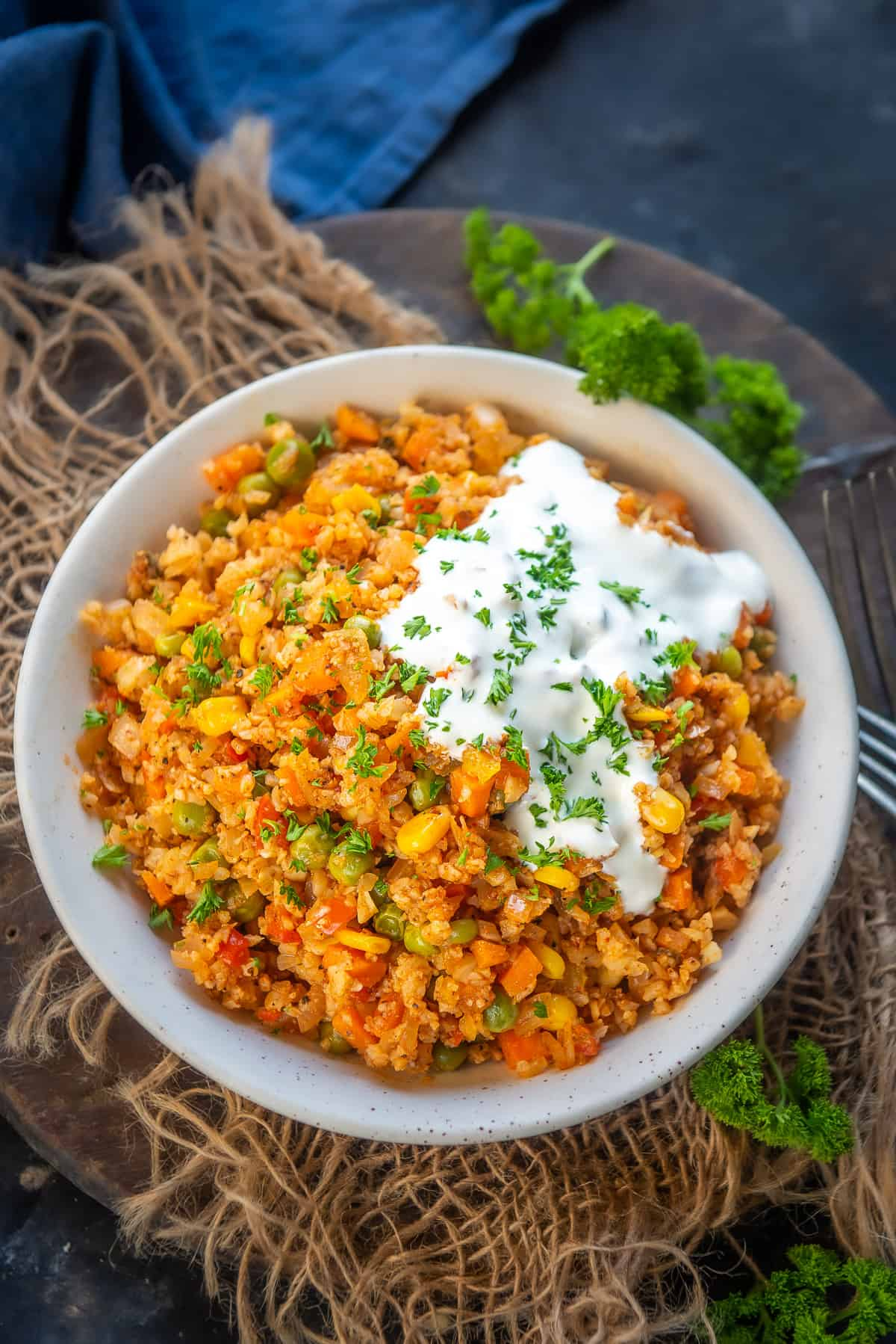 Mexican Cauliflower Rice served in a bowl.
