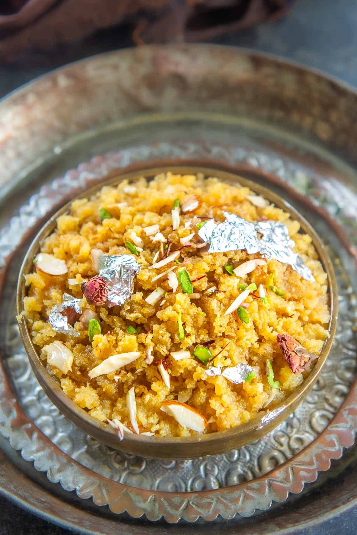Moong Dal Halwa served in a bowl.