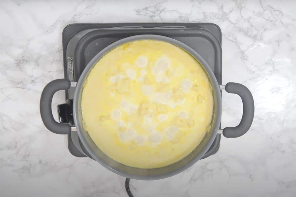 Khoya added in the pan.