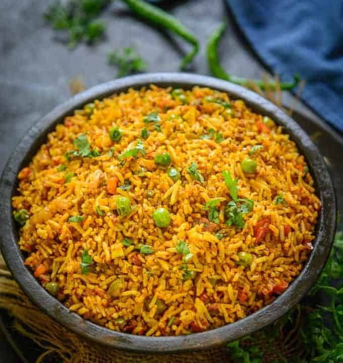 Tawa Pulao served in a bowl.