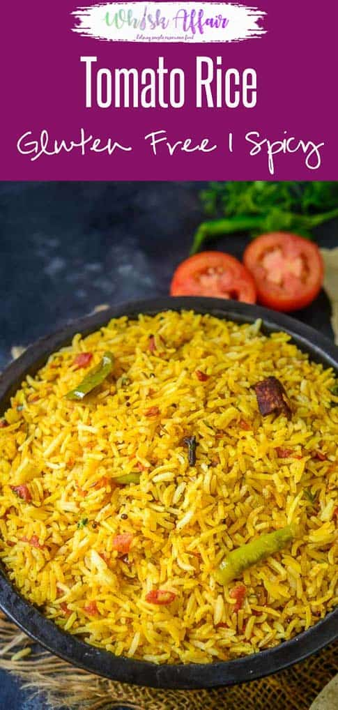 Tomato Rice is a delicious South Indian style rice recipe which is super quick to make. make it for breakfast, lunch or dinner, it fits it all. #Rice #Recipes #Tomato #TomatoRice #SouthIndian #ThakkaliSadam
