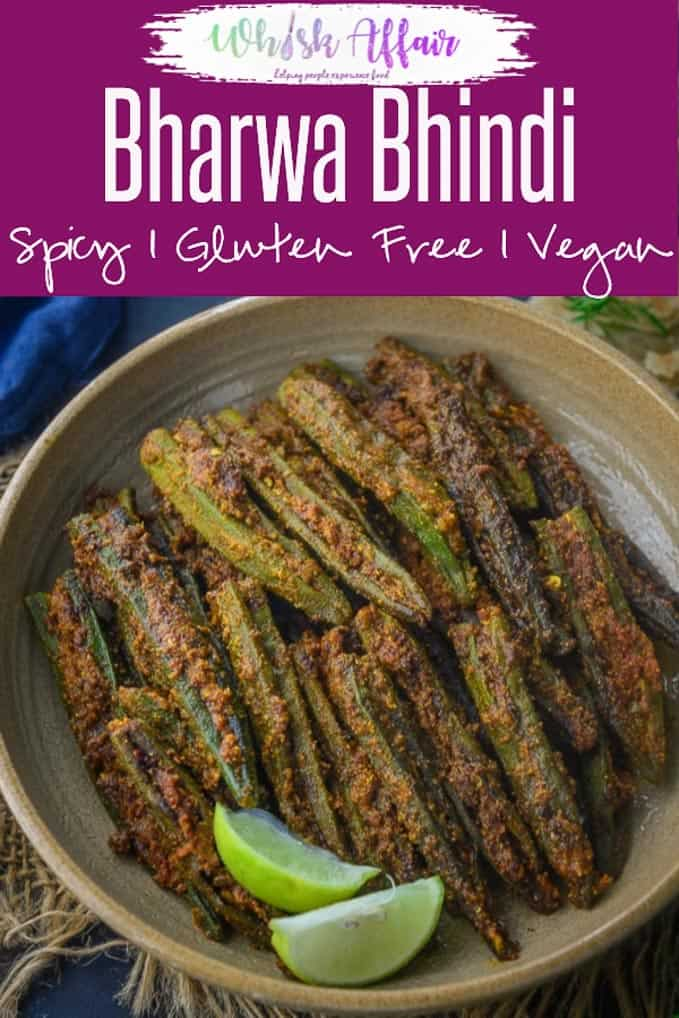 Bharwa Bhindi is lady's fingers stuffed with a tangy and spicy masala mix. It is easy to make, vegan and gluten free. Here is how to make Bharwa Bhindi Recipe. #Okra #Bhindi #Fry #Masala #Indian #Vegan #GlutenFree
