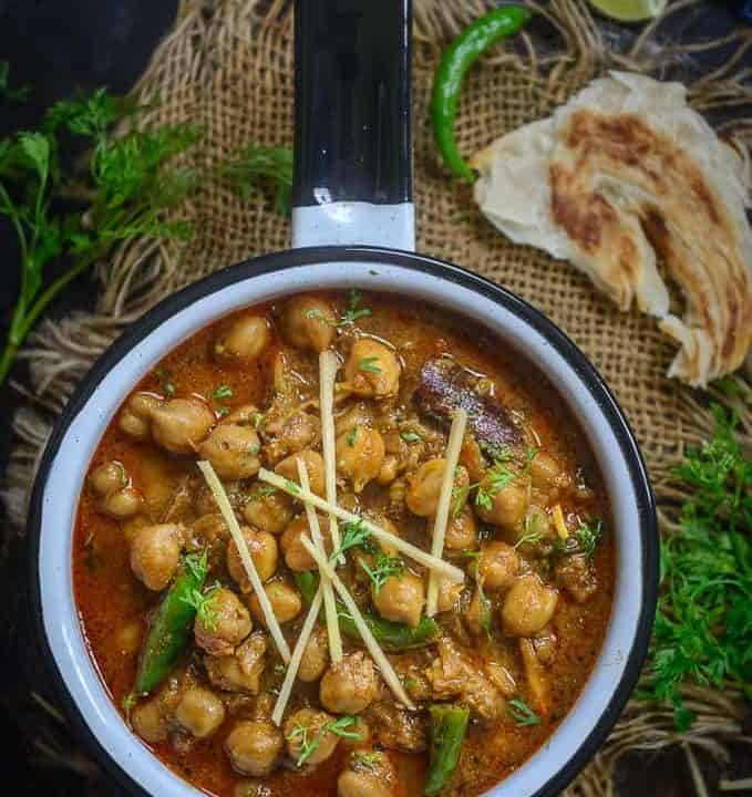 Chana Masala served in a pan.