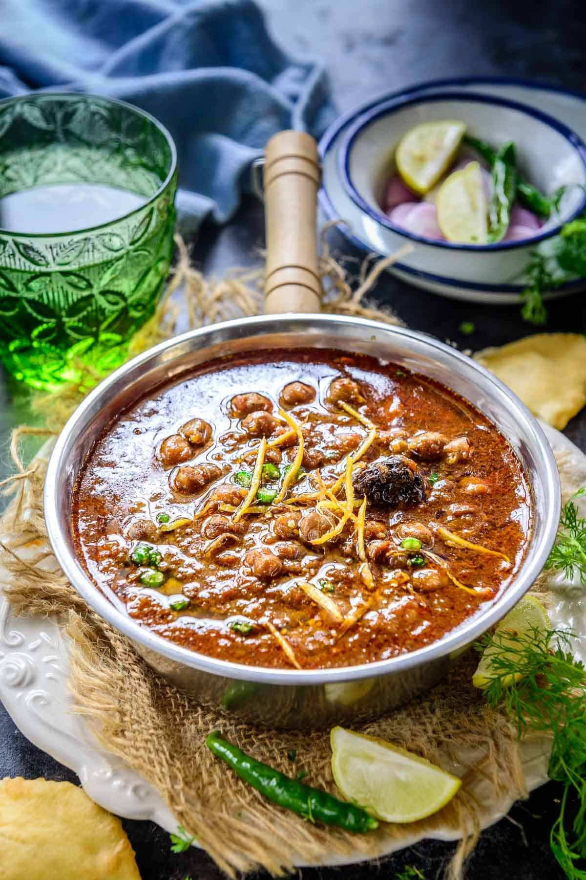 Punjabi Chole served in a bowl.