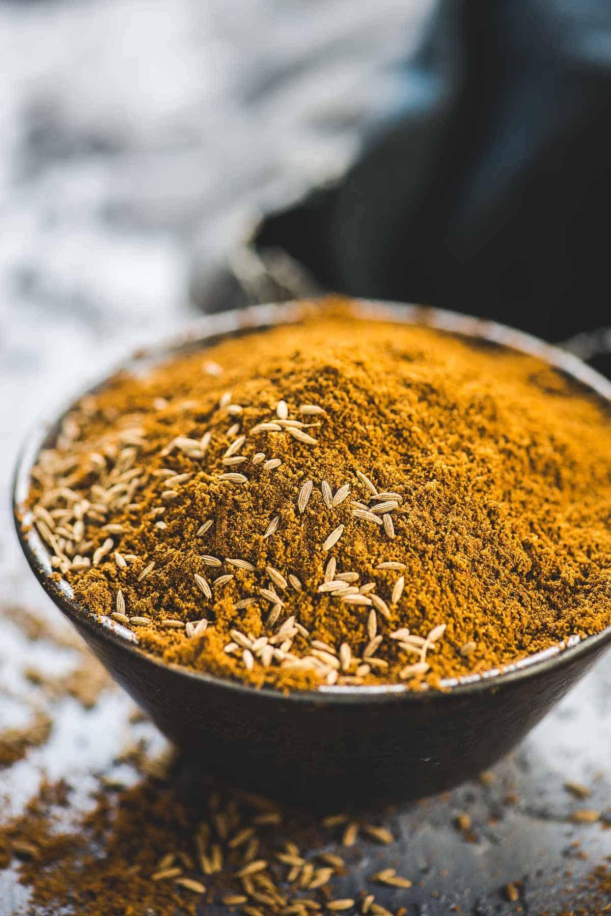 Cumin powder kept in a bowl.