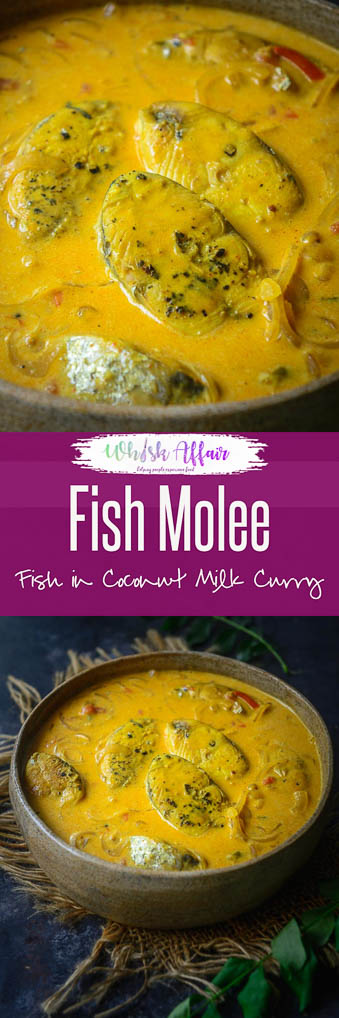 Fish molee is a Kerala style Fish Curry where fish is cooked in a coconut milk based gravy. Enjoy this curry with a bowl of steamed rice. #FishMolee #FishMolly #meenMolee #Kerala #Curry #Fish #Indian