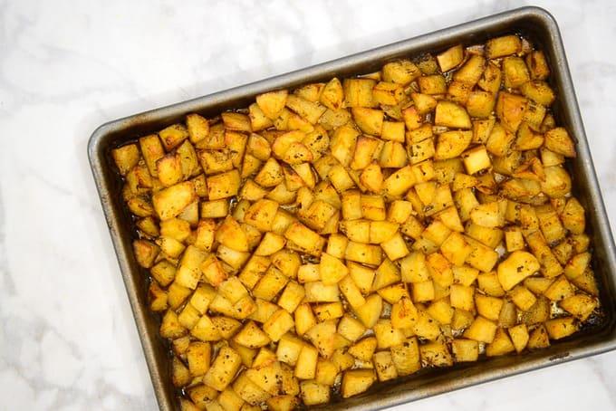 Potatoes baked twice.