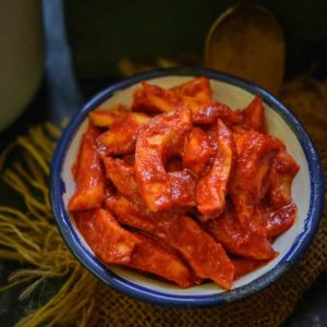 Loaded with strong flavour of hing and made with no oil, this Hing ka Achar or Mango Hing Pickle is a treasured recipe of mine.