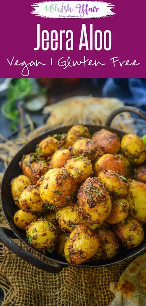 Jeera Aloo is one of the easiest recipe to prepare, especially when there is a lack of time. It is a flavourful, delicious and irresistible dish of baby potatoes and cumin seeds.  #Indian #Potato #Curry #Vegan #Vegetarian
