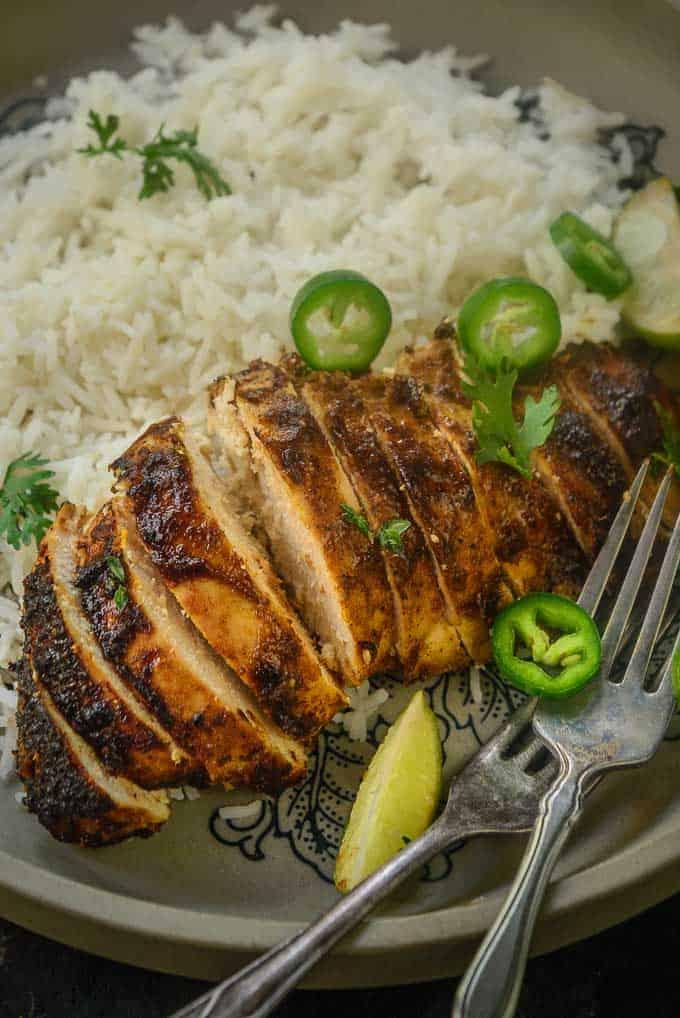 Jamaican Jerk Chicken Recipe served with rice.