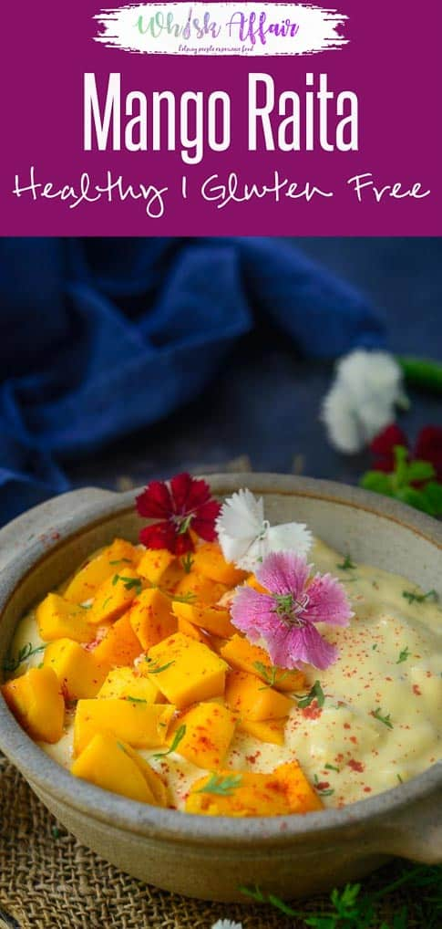Mango Raita is a delicious curd based accompaniment which goes very well with any meals. Ripe mango and mint makes this raita very special and a must make during summers when mangoes are in season. Here is how to make Mango Raita Recipe. #Indian #Mango #Raita #recipes