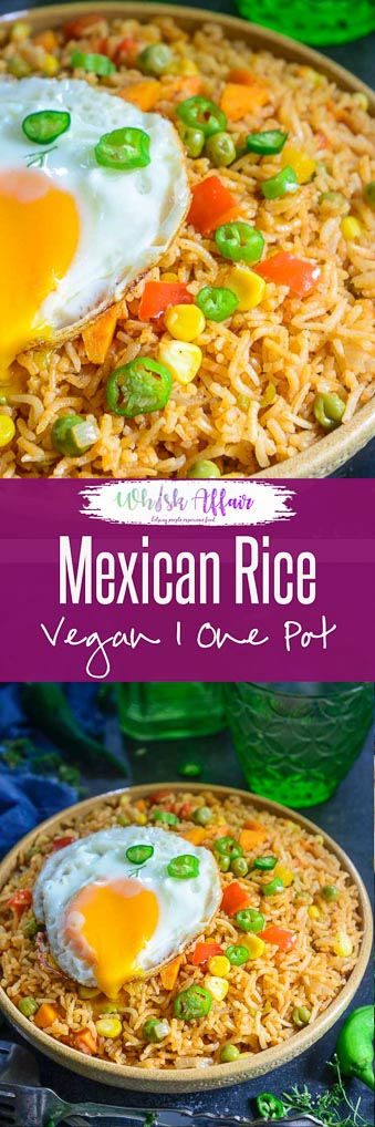 Mexican Rice is a delicious spicy rice based dish loaded with Mexican flavours. It is full of vegetables and other healthy ingredient and is fantastic to make for family meals. Check out my easy, homemade recipe to make this dish in an authentic style. Here is how to make Mexican Rice Recipe. Do try it soon if you love vegan, vegetarian Mexican meals. #Mexican #Vegan #Vegetarian #Homemade