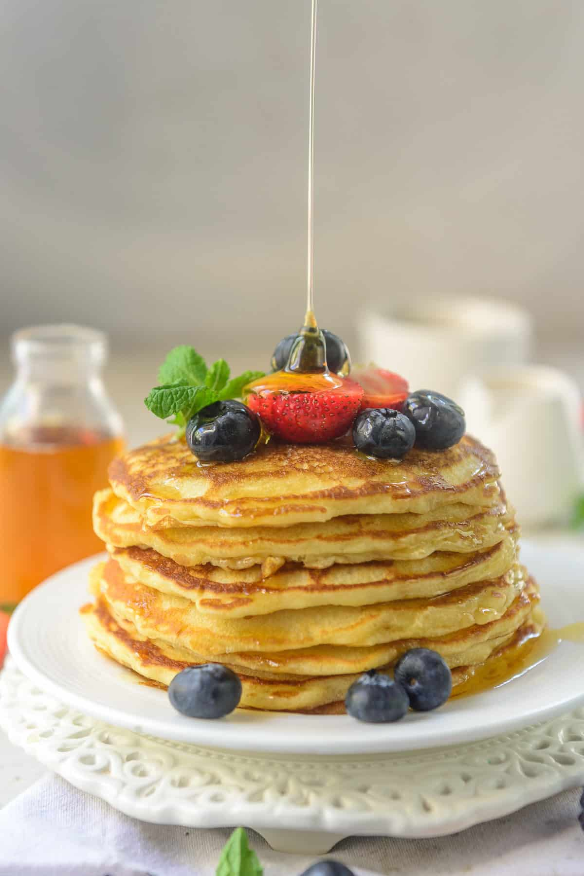 Old Fashioned Pancakes stacked on a plate.