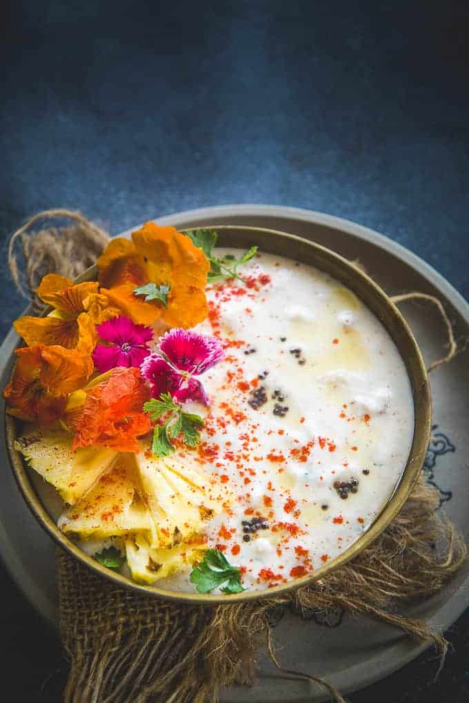 Pineapple Raita served in a bowl.